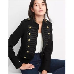 GAP Black Band Jacket NEW Cropped Military Buttons